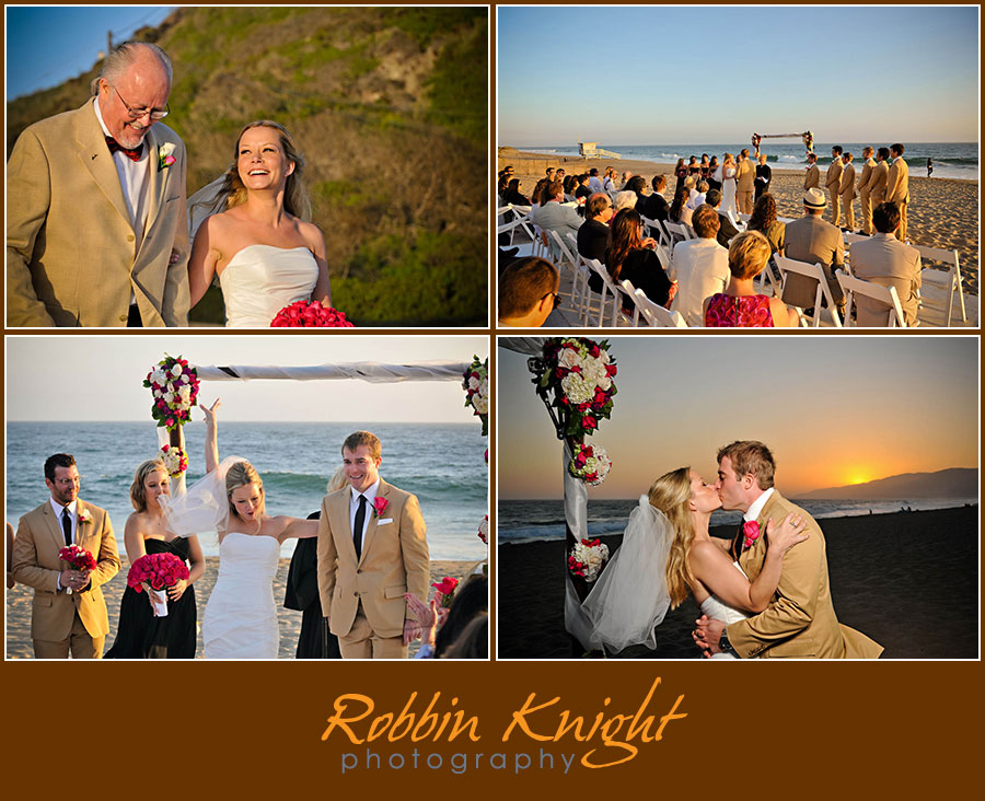 Sunset restaurant beach wedding in malibu, ca